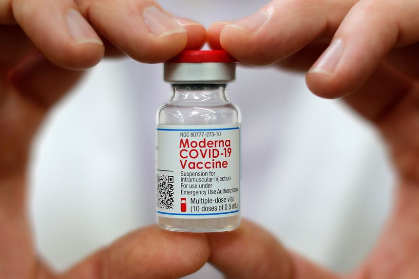 A vial of Moderna's Covid-19 vaccine